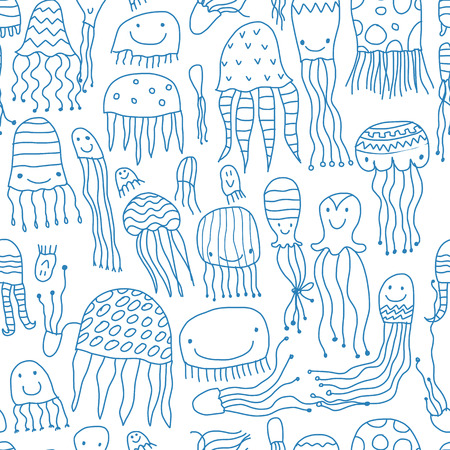 Funny jellyfishes, seamless pattern for your design. Vector illustration
