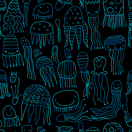Funny jellyfishes, seamless pattern for your design.