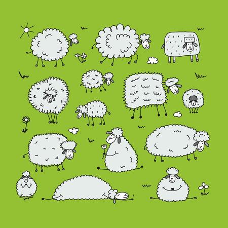 Moutons drôles, esquisse pour votre conception Banque d'images - 85248544