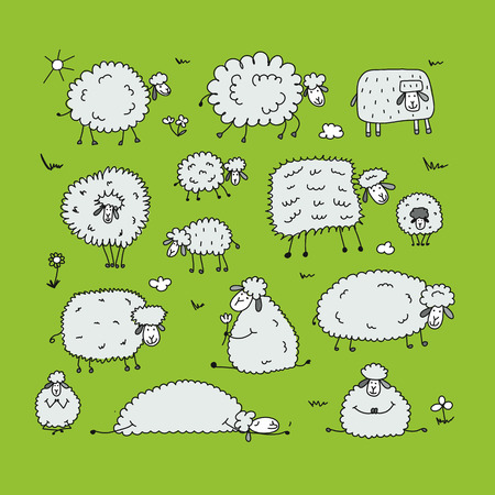 Funny sheeps, sketch for your design
