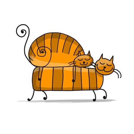 Rote Katzenfamilie, Skizze für Ihr Design Standard-Bild - 85248578