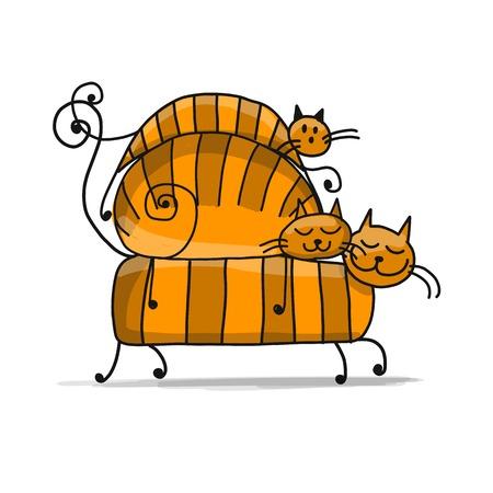 Rode kattenfamilie, schets voor uw ontwerp Stock Illustratie