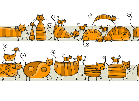 Cute striped cats family, seamless pattern for your design