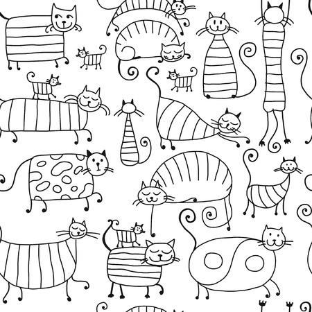 Familia de gatos rayas lindo, sin patrón para su diseño