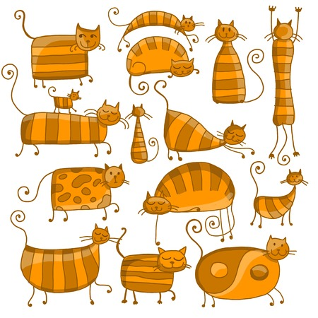 Cute striped cats family, sketch for your design Illustration