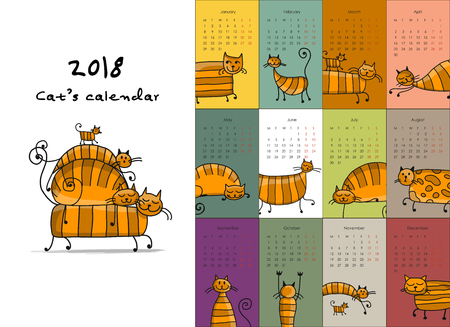 Funny striped cats. Design calendar 2018 Illustration