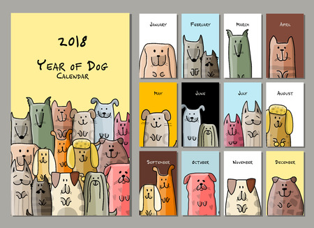 Funny dogs, calendar 2018 design Illustration