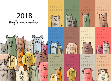 재미 있은 개, 달력 2018 디자인 일러스트