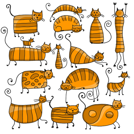 Cute striped cats family, sketch for your design