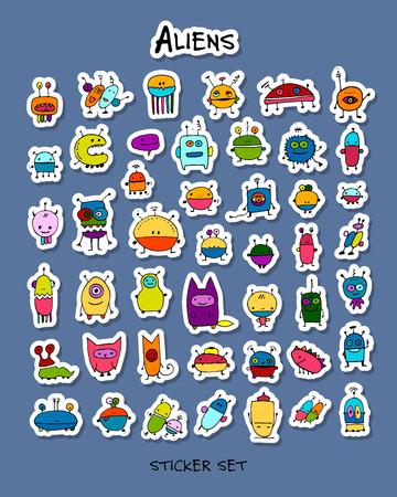 Funny aliens, autocollant pour votre design Banque d'images - 85773726