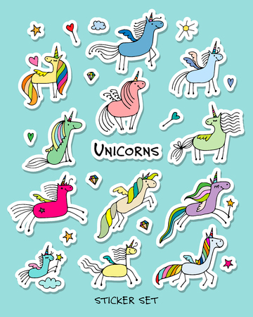 rainbow: Magic unicorns, stickers collection for your design