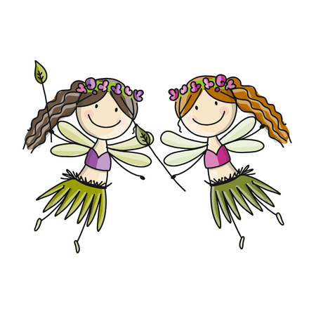 Cute little fairy, cartoon sketch for your design