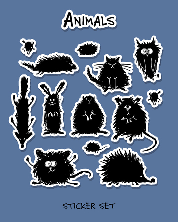 lapin: Funny stylized animals, stickers collection for your design. Vector illustration Illustration