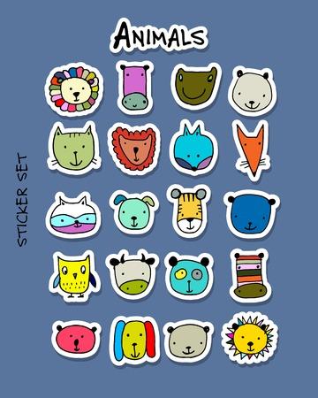 Set of animal faces, sticker set for your design