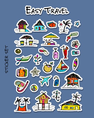 Hotel and travel icons. Sticker set for your design. Vector illustration