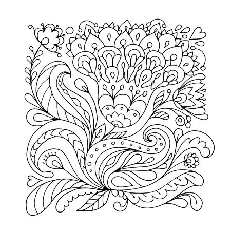 Bloemen versiering, schets voor uw ontwerp