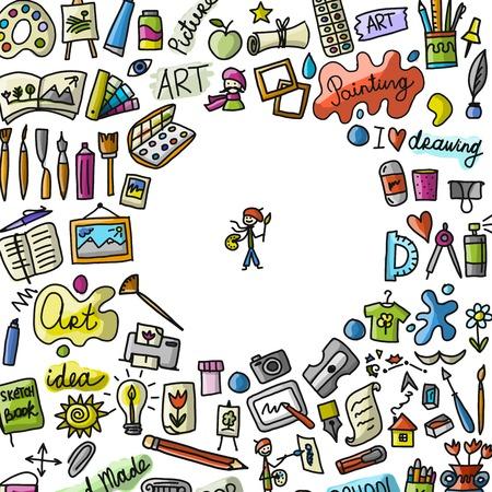Cole de dessin, art de fond pour votre conception Banque d'images - 87266515