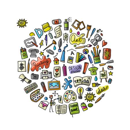 Szkoła rysunku, zestaw ikon dla swojego projektu