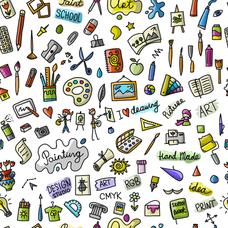 School of drawing, seamless pattern for your design