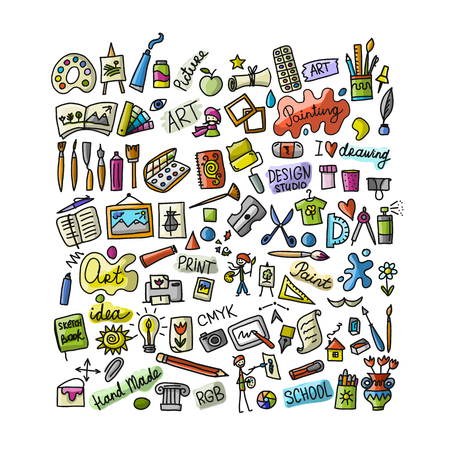 School of drawing, icons set for your design Vector Illustration