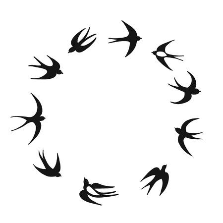 Golondrinas, boceto para su diseño Ilustración de vector