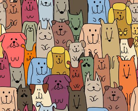 재미 있은 개 가족, 디자인을위한 완벽 한 패턴입니다. 벡터 일러스트 레이 션 일러스트