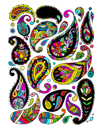 Paisley ornament set, sketch for your design 向量圖像