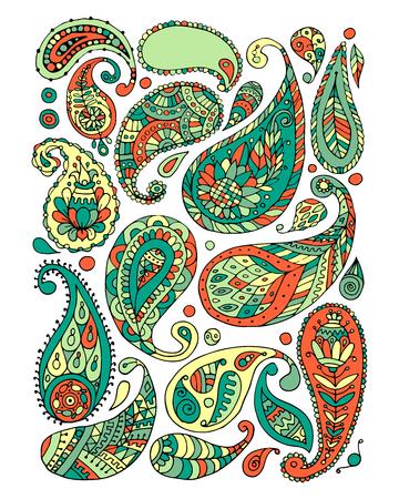Paisley ornament set, sketch for your design Иллюстрация