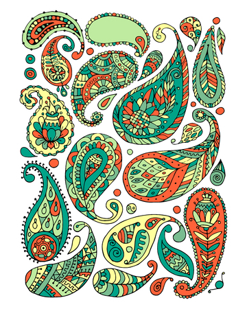Paisley ornament set, sketch for your design Illustration