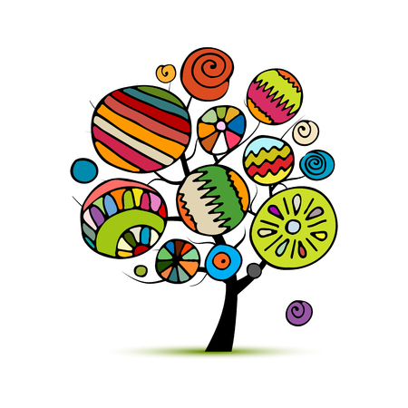 Abstract tree with circles. Sketch for your coloring book