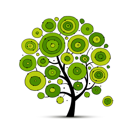 Abstract circles tree, sketch for your design. Vector illustration Illustration