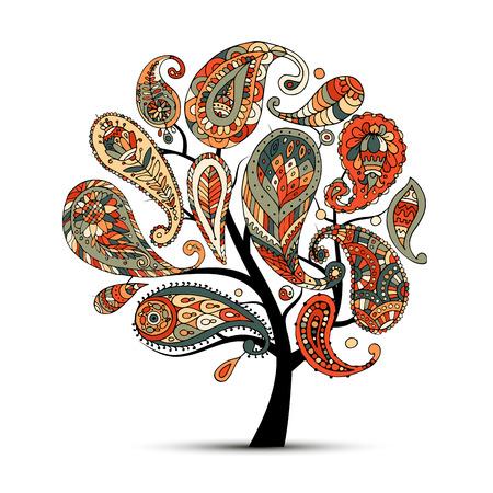 Ornamento di Paisley, albero d'arte, schizzo per il vostro disegno Archivio Fotografico - 87379510