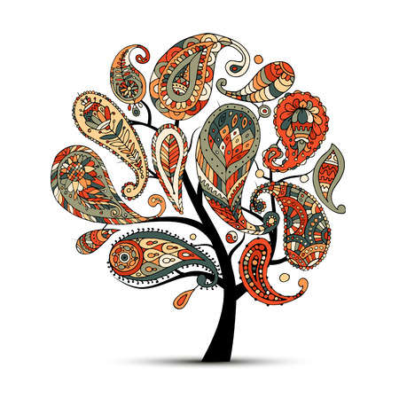 Paisley ornament, art tree, sketch for your design