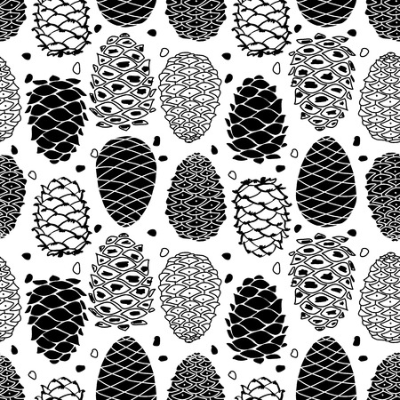 Cedar cones, seamless pattern for your design. Vector illustration