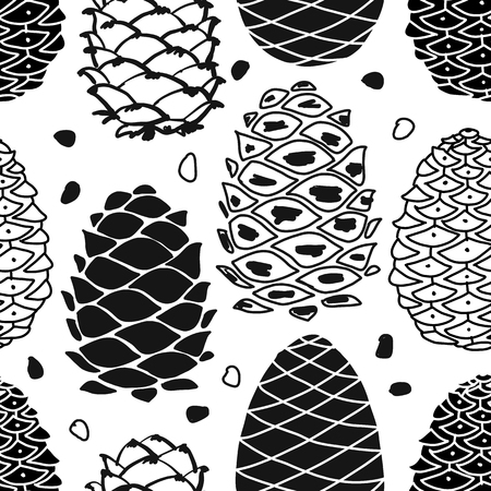 Cedar cones, seamless pattern background for your design