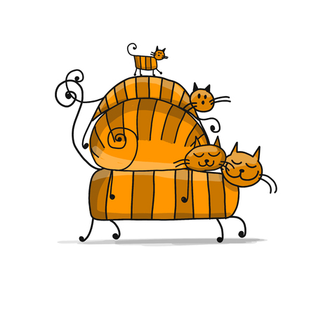 Red cats family, sketch for your design. Vector illustration