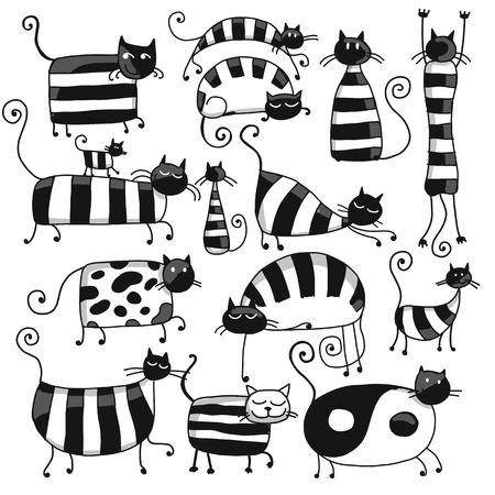 ストライプのかわいい猫があなたの設計のための家族、スケッチ。ベクトル図  イラスト・ベクター素材