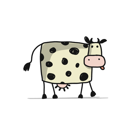 Funny cow, sketch for your design. Vector illustration Ilustração