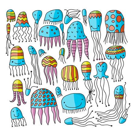 Jellyfish collection, sketch for your design. Vector illustration Ilustração