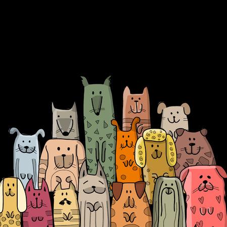 Grappige hondenfamilie, schets voor uw ontwerp. Vector illustratie