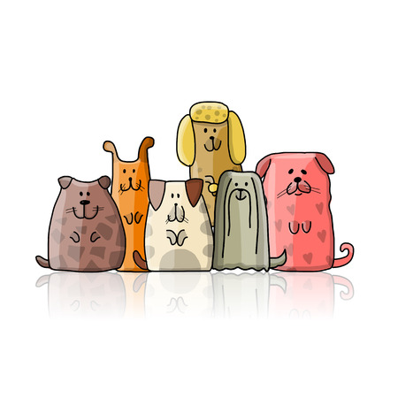 Funny dogs family, sketch for your design. Vector illustration
