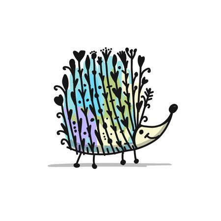 꽃 고슴도치, 로고 디자인을 설정합니다. 벡터 일러스트 레이 션