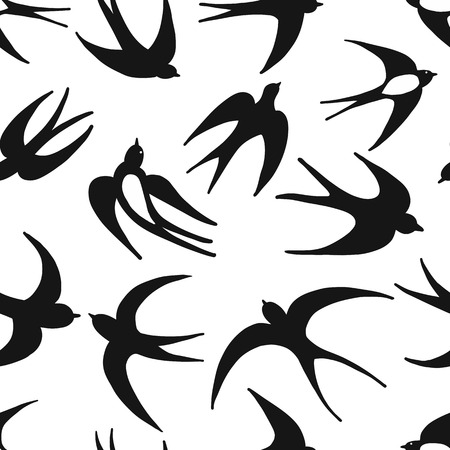 Swallows, seamless pattern for your design. Vector illustration