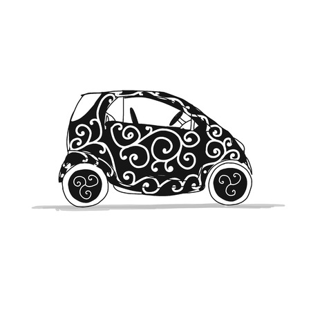 Pequeño coche inteligente, boceto para su diseño. Ilustración vectorial Foto de archivo - 87530035