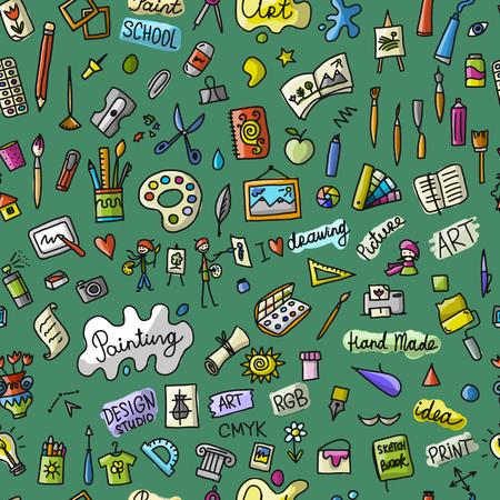 あなたの設計のための図面、シームレスなパターンの学校。
