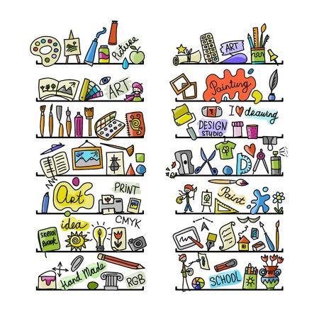 図面のアイコン セットの学校  イラスト・ベクター素材