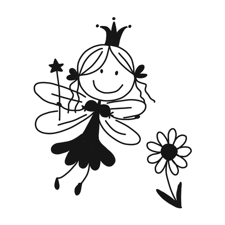 Cute little fairy, sketch for your design Ilustracja