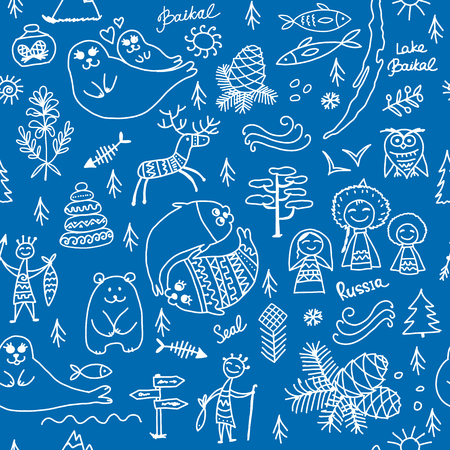 Travel to Baikal, Russia. Seamless pattern for your design. Vector illustration