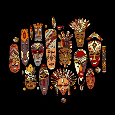 Stammenmasker etnische reeks, schets voor uw ontwerp Stock Illustratie