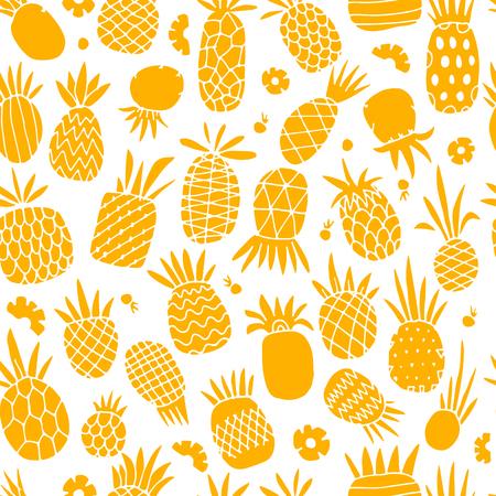 Pineapple set, sketch for your design Vector Illustration